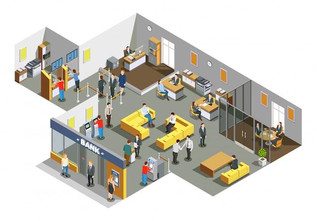 Банк офис интерьер интерьер изометрические композиция Бесплатные векторы