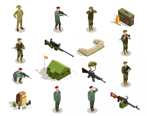 Набор армейских военных изометрических элементов Бесплатные векторы