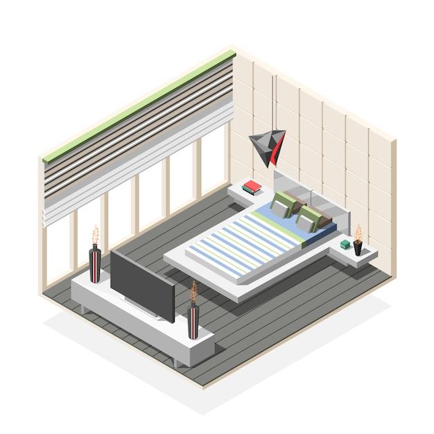 未来的な寝室インテリア等尺性組成物 無料ベクター