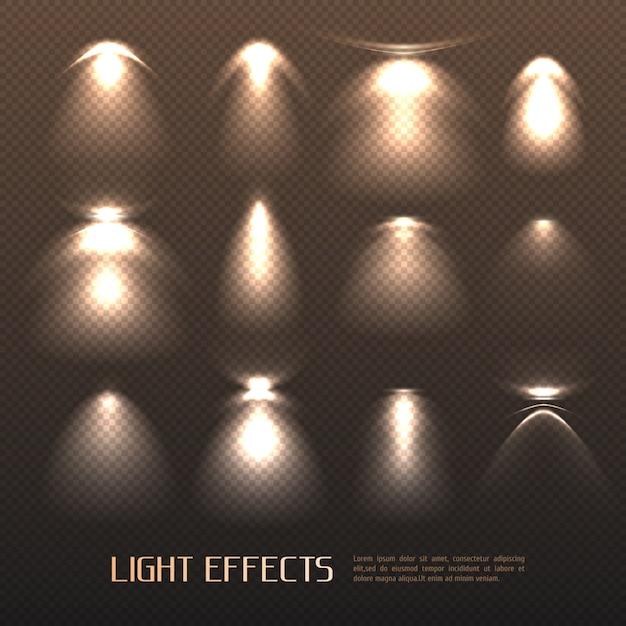 光の効果セット 無料ベクター