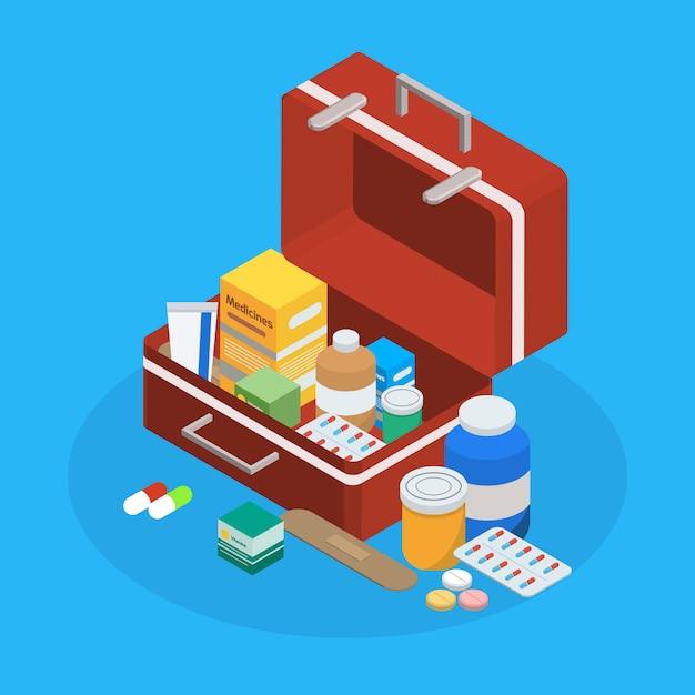 Фармацевтическая продукция чемодан изометрическая композиция Бесплатные векторы