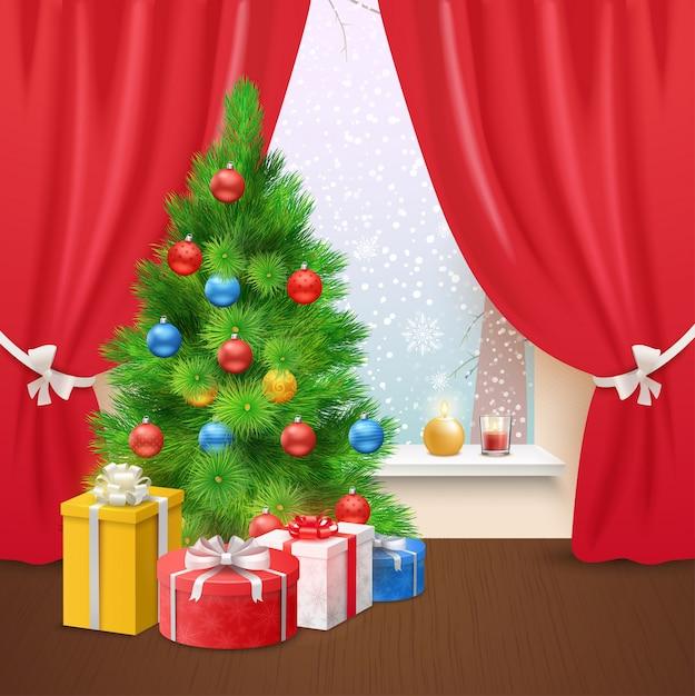 Рождественская композиция дома Бесплатные векторы
