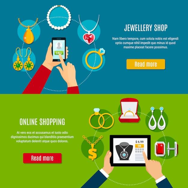 Ювелирный магазин онлайн горизонтальные баннеры Бесплатные векторы