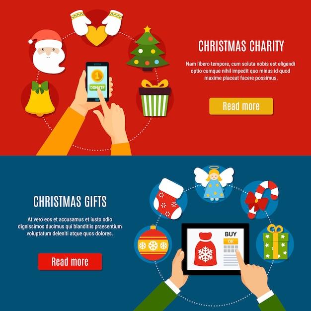 Рождественские благотворительные и подарочные баннеры Бесплатные векторы