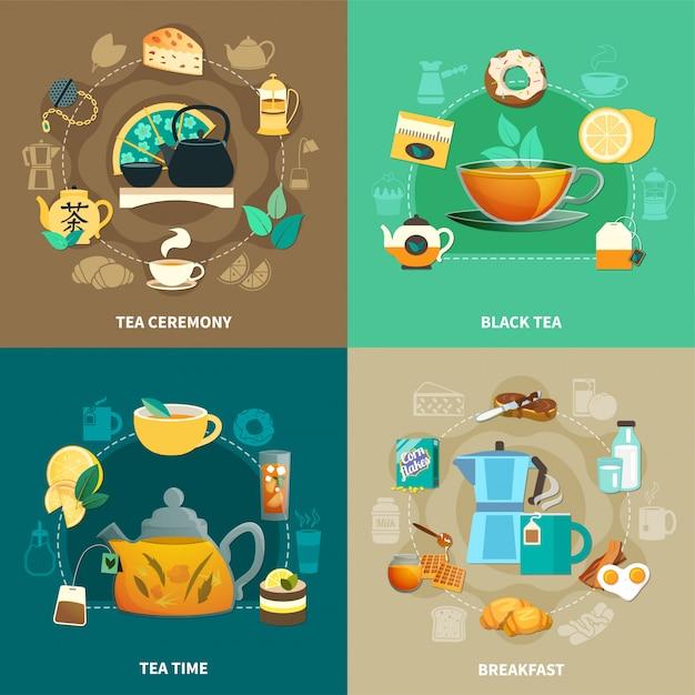 Чайная композиция Бесплатные векторы