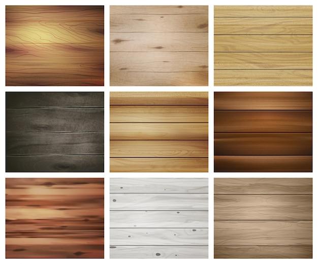 Набор деревянных текстур Бесплатные векторы