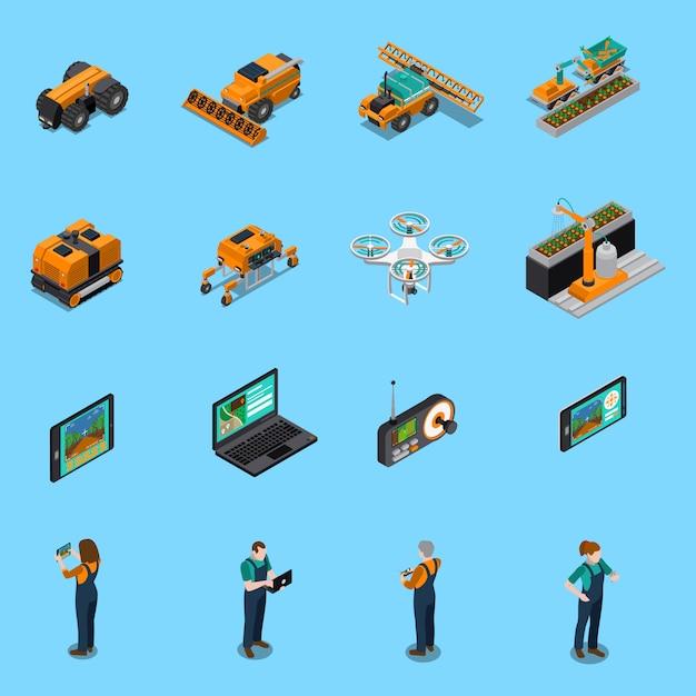 Сельскохозяйственные роботы изометрические иконы Бесплатные векторы