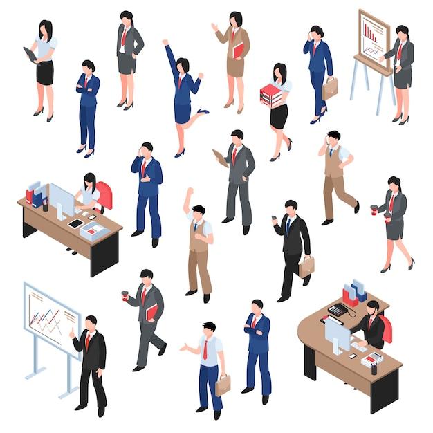 Бизнес-набор для мужчин и женщин Бесплатные векторы