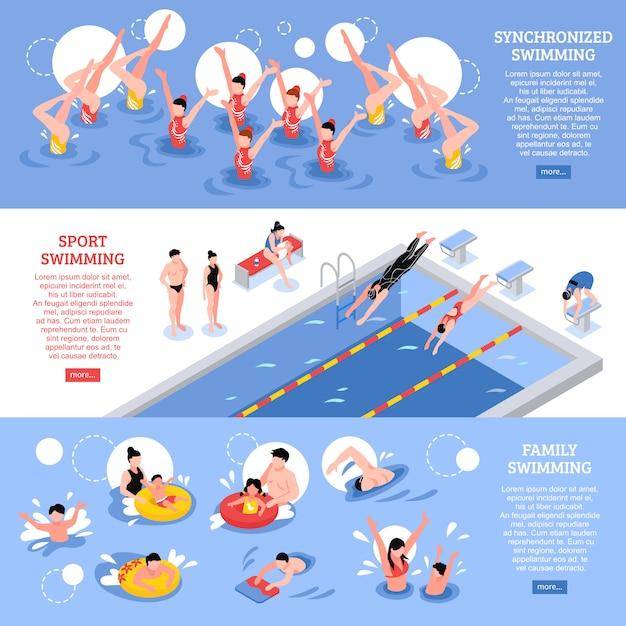 水泳水平バナーコレクション 無料ベクター