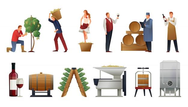 ワイン生産セット 無料ベクター