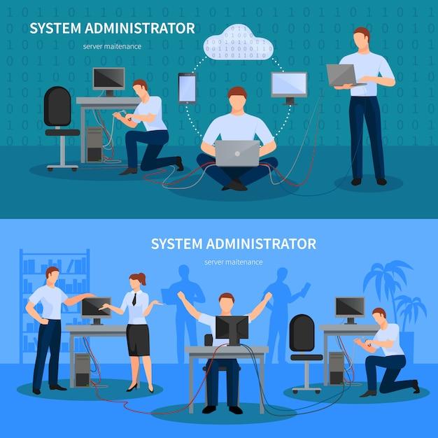 Набор баннеров системного администратора Бесплатные векторы