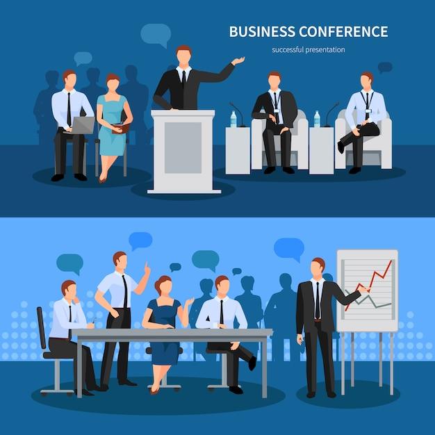 Набор баннеров для бизнес-конференций Бесплатные векторы