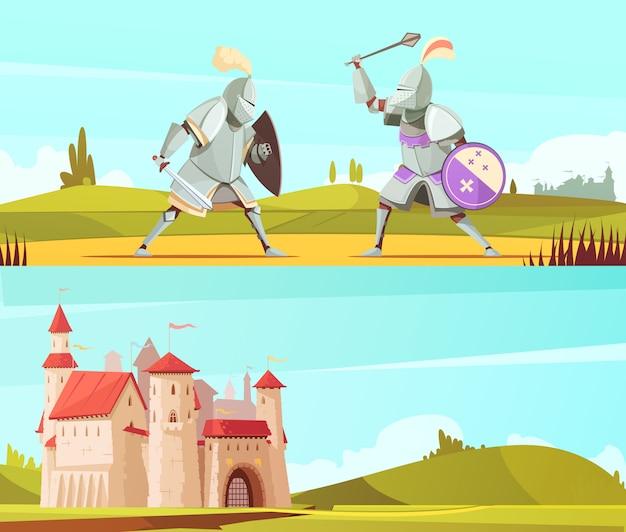 中世の水平漫画バナーセット 無料ベクター