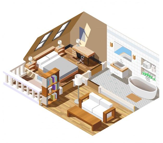 Интерьер квартиры изометрическая сцена Бесплатные векторы