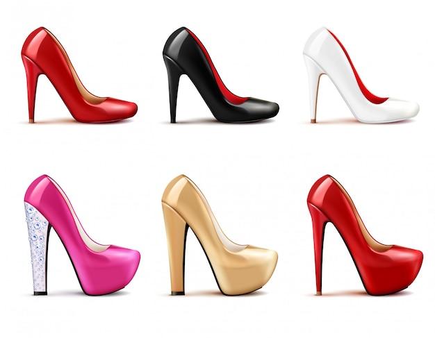 女性の靴の現実的なセット 無料ベクター