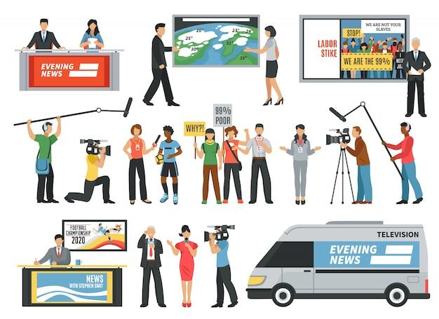 Набор иконок для журналистов Бесплатные векторы