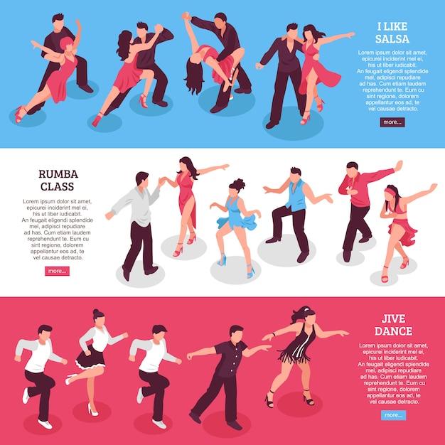 Танцы горизонтальные изометрические баннеры Бесплатные векторы