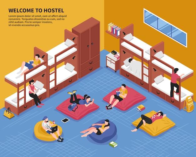 Хостел спальня изометрические иллюстрация Бесплатные векторы