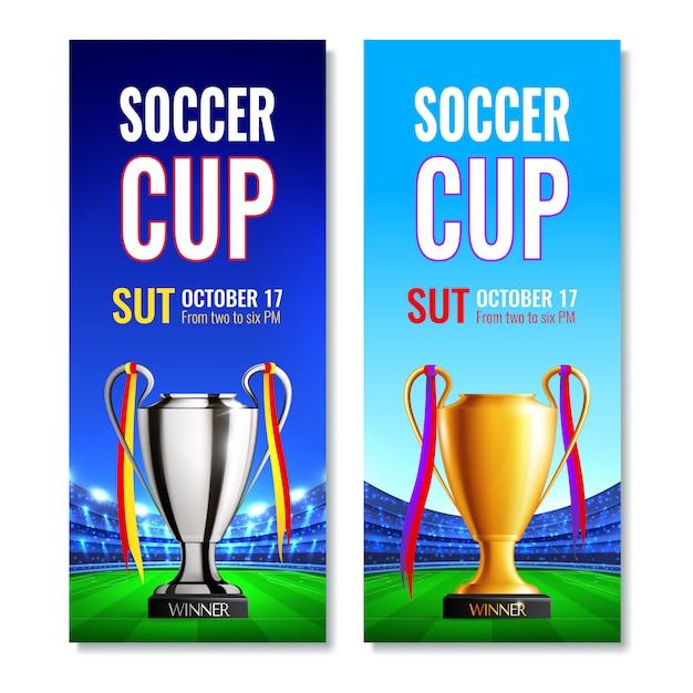 Футбольный кубок вертикальные баннеры Бесплатные векторы