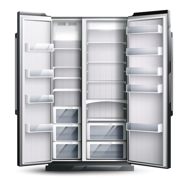 Открыт шире пустой холодильник Бесплатные векторы