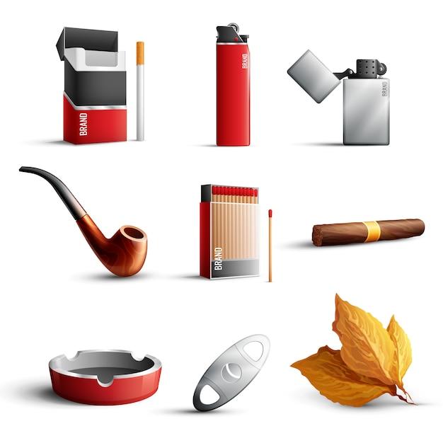 Реалистичный набор табачных изделий Бесплатные векторы