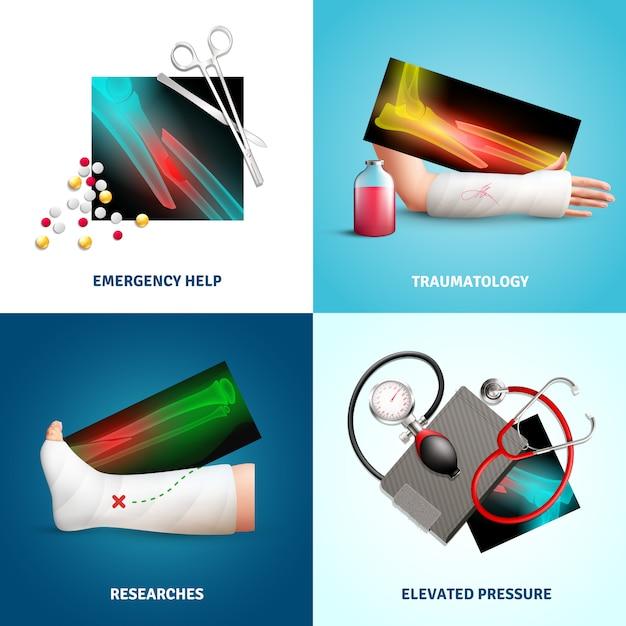 Набор травматологических иллюстраций Бесплатные векторы