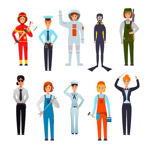 Набор профессиональных женских персонажей Бесплатные векторы