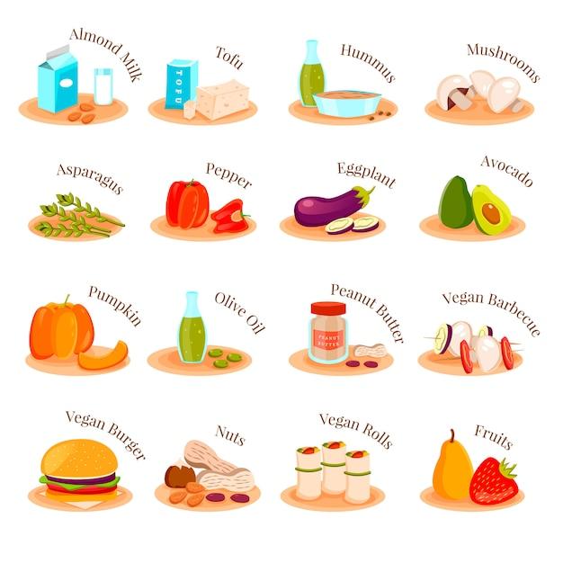 Набор иконок вегетарианские блюда Бесплатные векторы