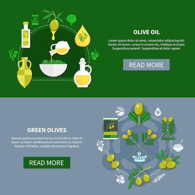 Зеленые оливки горизонтальные баннеры Бесплатные векторы