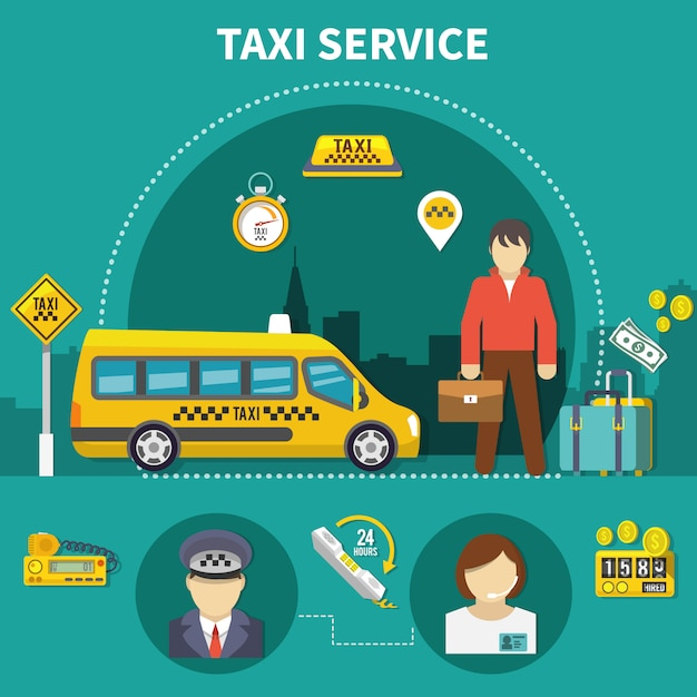 自動車サービスのタクシー構成 無料ベクター