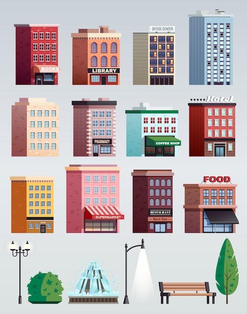 都市通りの要素の建物セット 無料ベクター