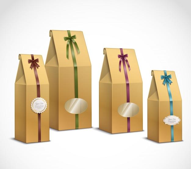 茶紙包装の現実的なセット 無料ベクター