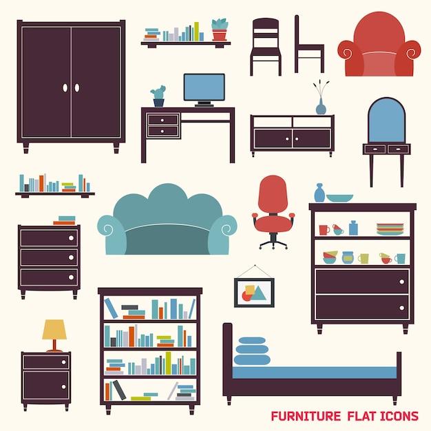 Мебель плоские декоративные иконки набор шкафа кресло шкаф изолированных векторных иллюстраций Бесплатные векторы