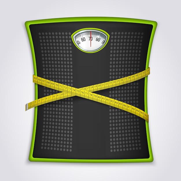 Потеря веса фитнес реалистичная концепция Бесплатные векторы