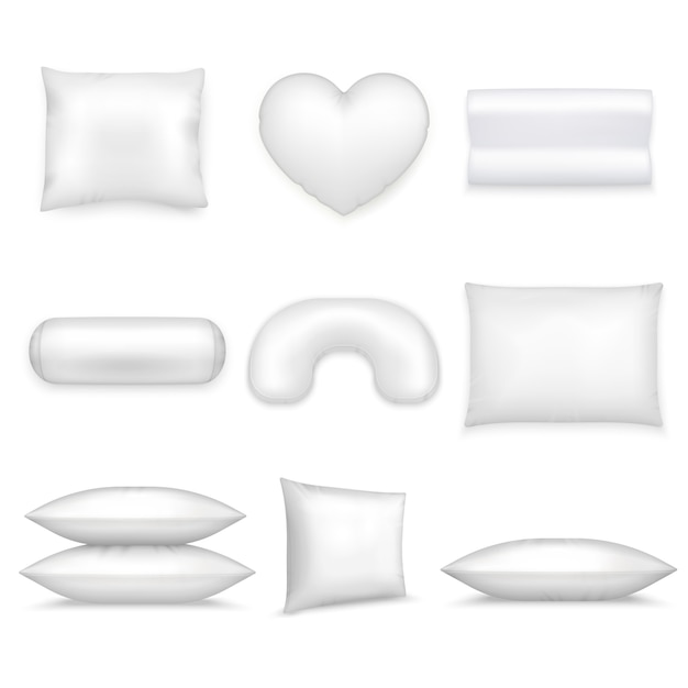 枕の現実的なアイコンを設定 無料ベクター
