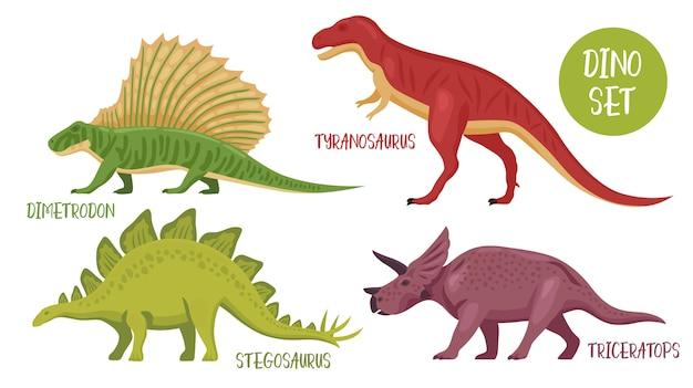 Набор видов динозавров Бесплатные векторы