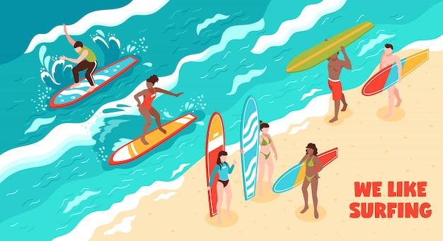 Серфинг горизонтальная иллюстрация Бесплатные векторы