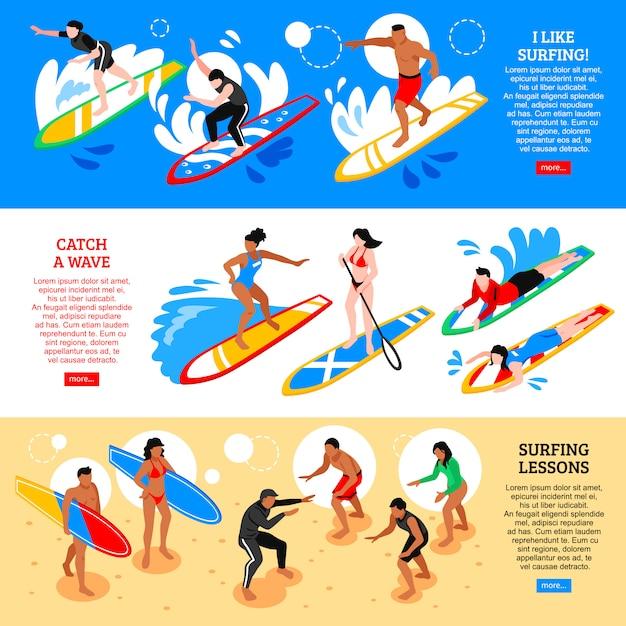 Серфинг изометрические горизонтальные баннеры Бесплатные векторы