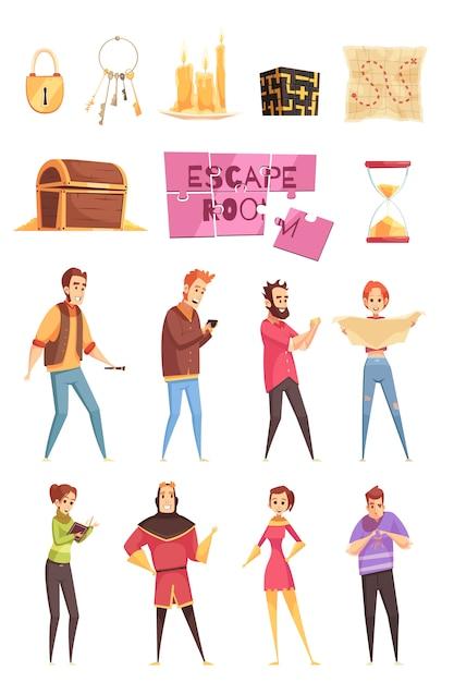 Умная игра декоративные иконки и набор персонажей Бесплатные векторы