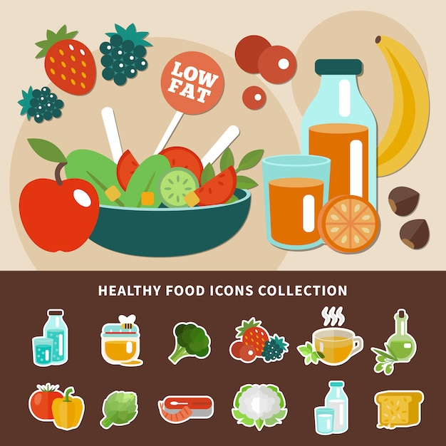 健康的な食事のアイコンコレクション 無料ベクター