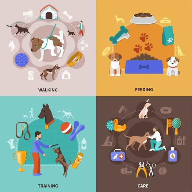 Набор иллюстрации жизни собаки Бесплатные векторы