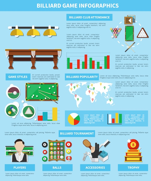 Инфографика бильярдной игры Бесплатные векторы