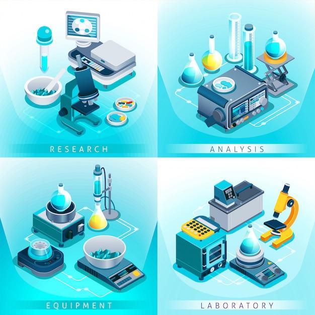Концепция изометрического дизайна лабораторного оборудования Бесплатные векторы