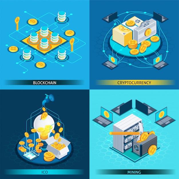 ブロックチェーン暗号通貨等尺性デザインコンセプト 無料ベクター