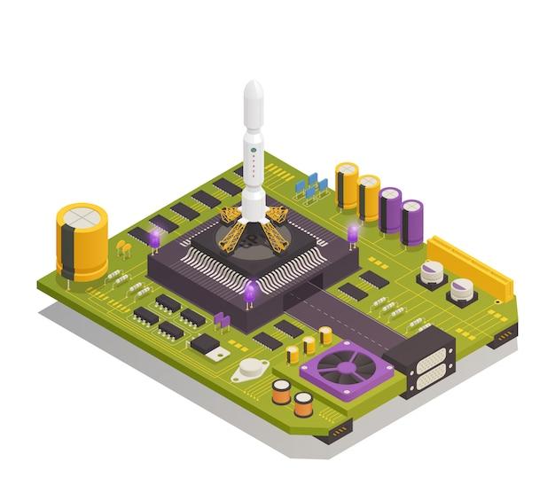 Изометрическая композиция полупроводниковых электронных компонентов Бесплатные векторы