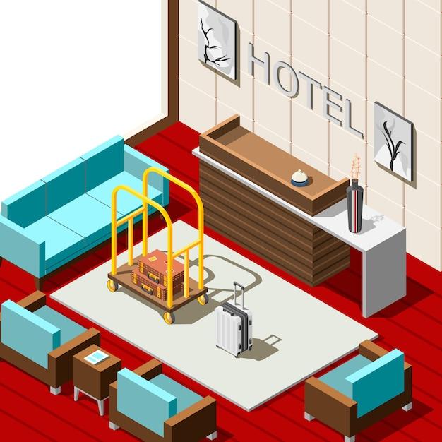 ホテルレセプション等尺性背景 無料ベクター