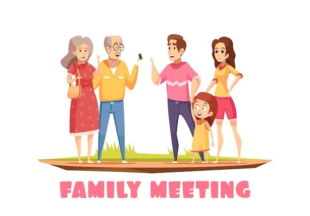 家族会議の構成 無料ベクター