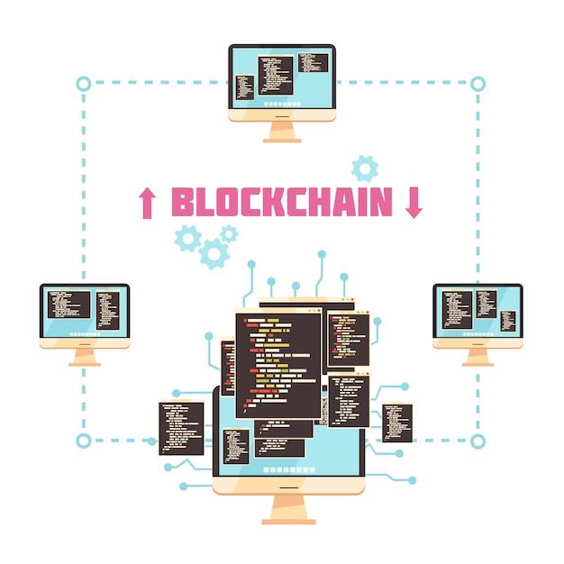 ブロックチェーン技術の設計コンセプト 無料ベクター