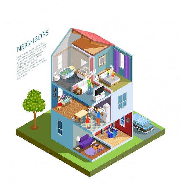 Изометрические композиции соседей Бесплатные векторы