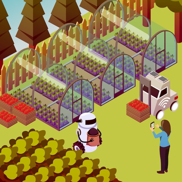 Состав роботов оператора фермы Бесплатные векторы